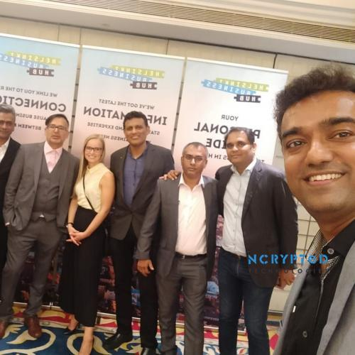 Kunal Pandya (CEO, NCrypted Technologies) with other CEOs at Finland. Collaboration Conference