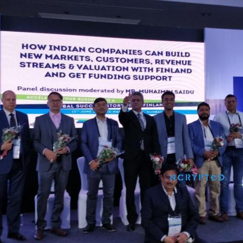 Group Photo with Dignitaries at Finland Collaboration Conference in Mumbai, India.
