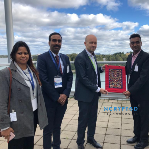 NCrypted CEO, Mr. Kunal Pandya, with Member of Neste Oil during the Visit of Vibrant Gujarat 2019 Delegation to Finland