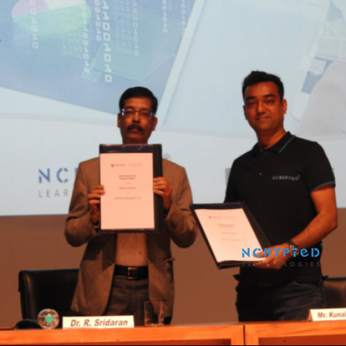 MOU Signing between Marwadi University and NCrypted Technologies during the Session for Finishing School