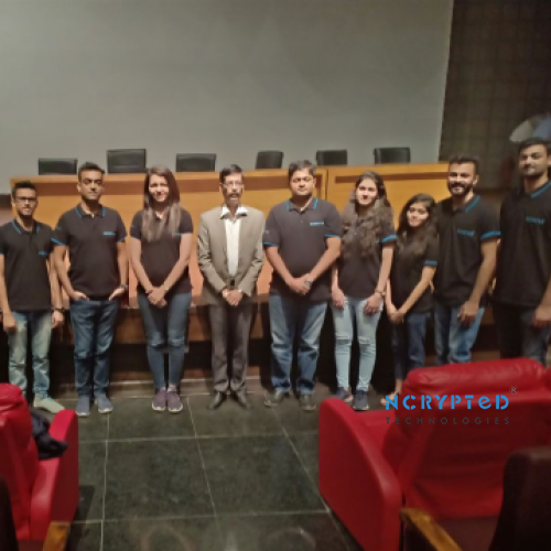 Team NCrypted with Dr. R. Shridaran, Dean FCA, of Marwadi University During the Finishing School Session