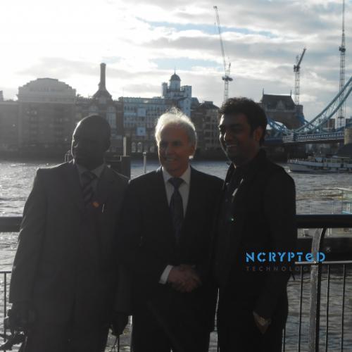 Jose E Prieto flanked by Dr. I I Akuvue of GGI Ltd and Kunal Pandya of NCrypted